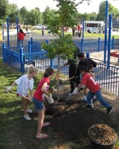 Photo of Youth Planting a Tree in Lincoln, NE. (courtesy ReTree NE)